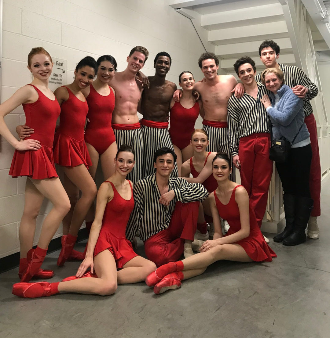 Cast of <i>In the Upper Room</i> poses backstage at Northrop while on tour to Minnesota in 2019. Photo courtesy Carlos Gonzalez.
