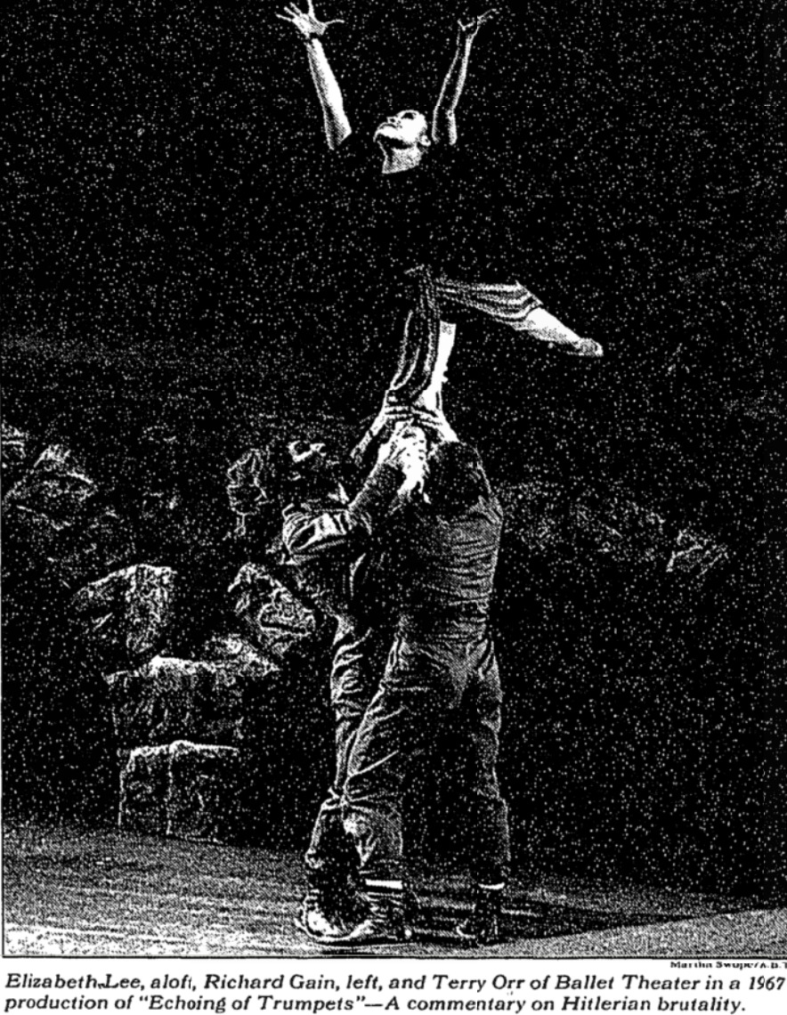 A 1967 production of <i>Echoing of Trumpets</i>, printed in a 1994 <i>New York Times</i> review. Photo: Martha Swope. .