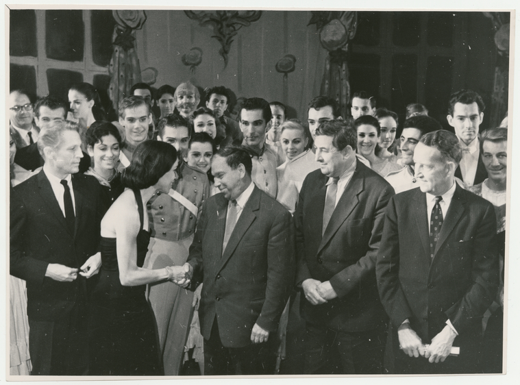 ABT Principal Dancers Maria Tallchief and Erik Bruhn shake hands with Soviet officials in 1960. Photo courtesy of New York Public Library, Jerome Robbins Dance Division.