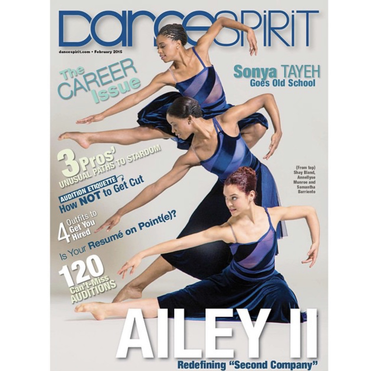 Annellyse's <i>Dance Spirit</i> Magazine cover with fellow Ailey II dancers.