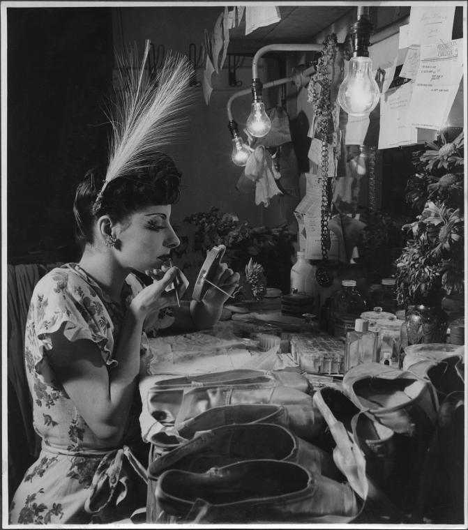 Alicia Alonso in her dressing room, 1946. Photo by Roger Wood.