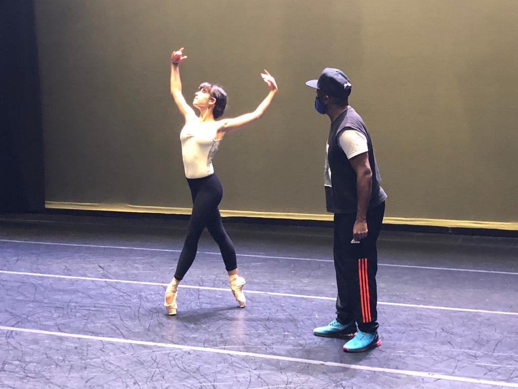 Anabel Katsnelson with Darrell Grand Moultrie rehearsing his new work at PS21 in Chatham, New York. Photo: Carlos Lopez.